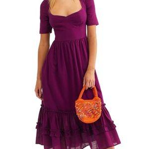 Free People Frances Lace-Up open Back Midi Dress